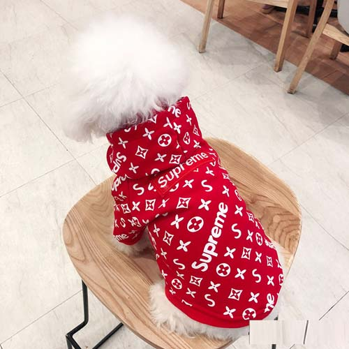 LV Supreme 犬の服 パーカー