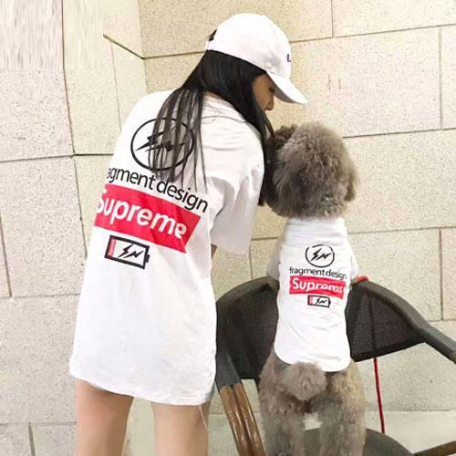SUPREME x Fragment Design 犬服 tシャツ お飼い主とのペアルック